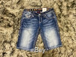 NEW Rock Revival Womens Sherry Bermuda Jean Shorts Distressed Thick Stitch Sz 27
