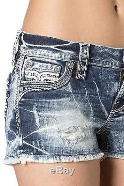 NEW Women's ROCK REVIVAL Clair H400 Acid Wash Destroyed Jean Shorts Sz 31 NWT