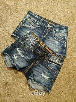 NWOT Women's 2 Pair Rock Revival Distressed Shorts Size 25 Jessica Becky