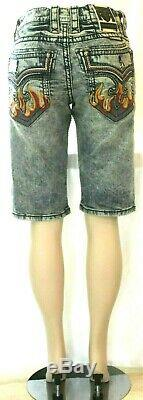 NWT $154. Rock Revival QUINCE Denim Jean Embroidered Flame Shorts Mens Size 32