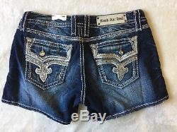 NWT/DEFECT Women's ROCK REVIVAL Low Rise Kai H63 BLING! Stretch Shorts 32 RARE