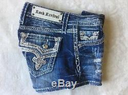 NWT/DEFECT Women's ROCK REVIVAL Low Rise Kai H63 BLING! Stretch Shorts SIZE 25