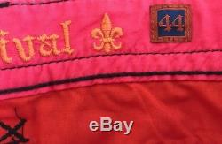 NWT Men's Rock Revival Cargo Shorts Belt Thick Stitch Bright Pink Salmon 44
