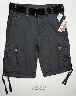 NWT Rock Revival BRAND Cargo Shorts Mens Gray withBelt NEW FREE SHIPPING