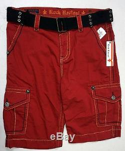 NWT Rock Revival BRAND Cargo Shorts Mens Red withBelt NEW FREE SHIPPING