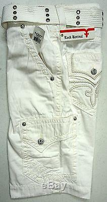 NWT Rock Revival BRAND Cargo Shorts Mens White withBelt NEW FREE SHIPPING NEW