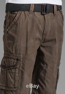 NWT Rock Revival Brown Cargo Short size 32 Flap pocket Black Thick Stitch