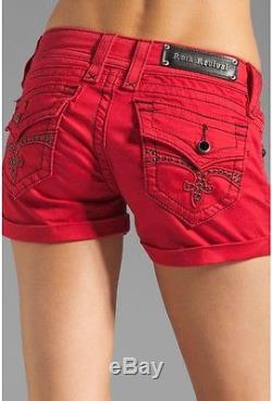 NWT Rock Revival Jen H65 Red Cuffed Shorts Size 29 Rhinestone Details! RARE