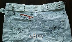 NWT Rock Revival Summer Cargo Shorts Mens Solid White withBelt 34