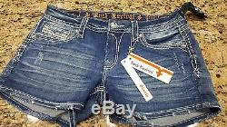 NWT Womens Rock Revival Mini Shorts Ena low rise decorative Stitching sz 27, 29
