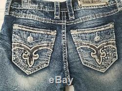 NeW ROCK REVIVAL ANDREA FLEUR DISTRESSED BLING JEAN SHORTS SIZE 34