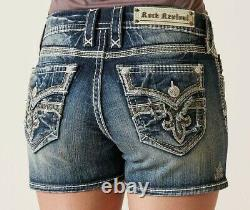 NeW ROCK REVIVAL BERNADINE EASY STRETCH FLEUR DISTRESSED JEAN SHORTS SIZE 32