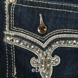 NeW ROCK REVIVAL BETTY BERMUDA EMBELLISHED SEQUINED BLING SHORTS SIZE 34