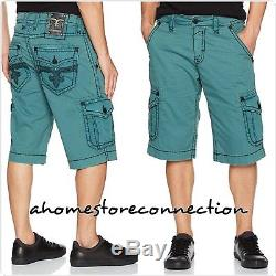 New Buckle Mens Rock Revival Rcm138-8 Teal Cargo Shorts Nwtsize 44