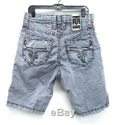 New Buckle Rock Revival Mens Size 34 Washed Gray Flat Front Stretch Shorts