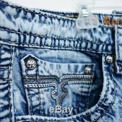 New Buckle Rock Revival Mens Size 44 Pevey Distressed Cut Off Light Blue Shorts