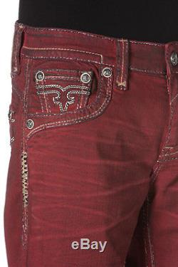 New Men's Rock Revival Foust H7 Shorts Red Jean Short Size 38 Brand New