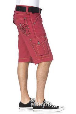 New Men's Rock Revival Red RR Cargo Shorts Size 42 Brand New
