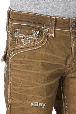 New Men's Rock Revival Rinks H5 Shorts Tan Jean Short Size 38 Brand New