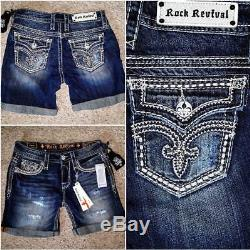 New Rock Revival Factory Distressed Flap Pockets Kaylee Easy Shortssize 26