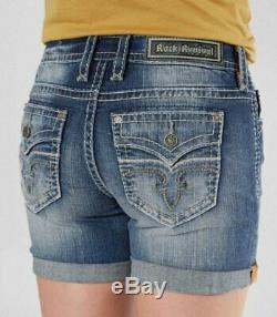 New Rock Revival Julee MID Rise Stretch Denim Jeans Shorts Size 26 Buckle