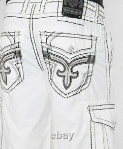 New Rock Revival White Black Classic Cargo Shorts Embroidered Pockets 42 Buckle
