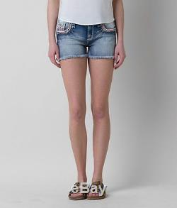 New Sz 32 Rock Revival CLAIR EASY Womens Jean Shorts Crystal Jewel Pink