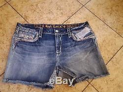 New Sz 33 or 34 Rock Revival CLAIR EASY Womens Jean Shorts Crystal Jewel Pink