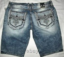 New With Retail Tags Rock Revival Krys Denim Blue Jean Shorts Mens Size 42