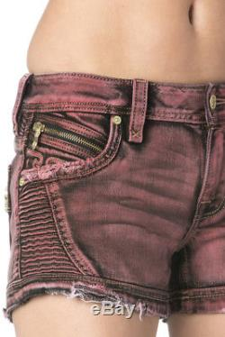 Nwt Ladies Rock Revival Jeans Janne H200 Motto Shorts Red Stretch 170$ Size 25
