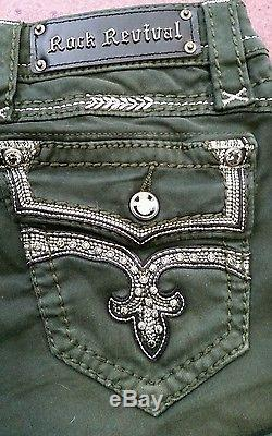 Pre-owned Rock Revival Eleanor Stretch Shorts Size 25 Compare at $129