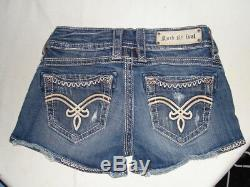 ROCK REVIVAL BECKY SHORT BLUE/WHITE STITCHING LOW RISE SHORTS SZ. 26/3 Inseam