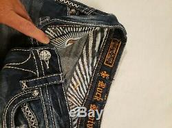 ROCK REVIVAL Buckle Womens sz 28 BECKY SHORT BLUE/WHITE STITCHING LOW RISE