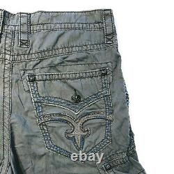 ROCK REVIVAL Jean Men's Graphite Dark Gray Classic Cargo Shorts Size 34x24