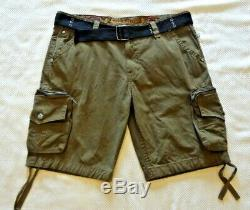 ROCK REVIVAL MENS ARMY GREEN ZIP CARGO SHORTS with WEB BELT RCM032-4 SIZE 42 WAIST