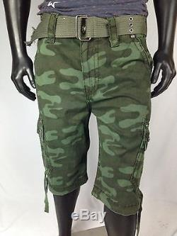 ROCK REVIVAL Mens Camo Green Cargo ShortsThick Stitch Detail Flap Pockets NWT