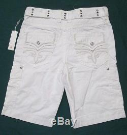 ROCK REVIVAL Mens White Belted Woven Cargo Shorts RCM095-3 Size 34, 36, 38