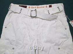 ROCK REVIVAL Mens White Belted Woven Cargo Shorts RCM095-3 Size 36, 38