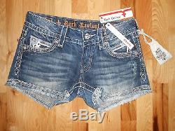 Rock Revival Noelle Stretch Flap Pocket Bling Jean Shorts Size 28/6 Nwt