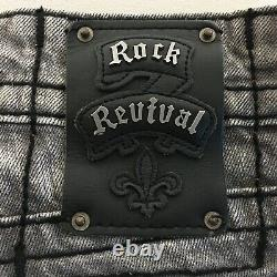 ROCK REVIVAL Steven Straight Gray Wash Distressed Gothic Biker Jeans 36 x 26