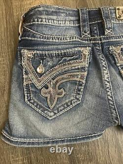 ROCK REVIVAL Women's Kaitlyn Shorts Jeans Short Bling Sequin Distressed Sz 26