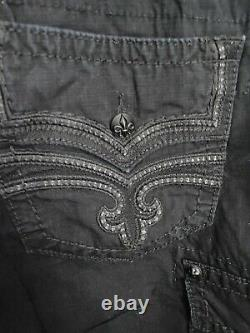 Rock Revival 36 Black Shorts Cargo Cotton Heavy Stitching EXCELLENT