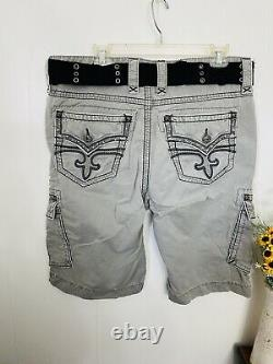 Rock Revival 36 Gray Shorts Belt Cotton Heavy Stitching EXCELLENT