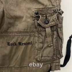 Rock Revival 36 x 12 Brown Cable Stripe Drawstring Cuff Cargo Shorts