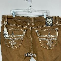 Rock Revival 44 Rinks Brown Shorts Mens Distressed Logo Flap Pockets Stretch NEW