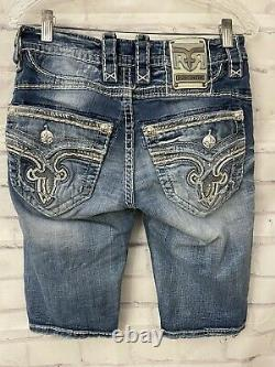 Rock Revival Amal Mens Size 29 Slim Fit Shorts Whispering Faux Flaps Distressed
