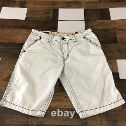 Rock Revival Arther Flat Front Jean Shorts 36x12 Tiny Stain Men Thick Stitch