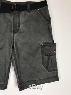 Rock Revival Authentic Mens Cargo Shorts sz 42 Gray Grey Gunmetal with Belt NEW