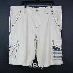 Rock Revival Beige Khaki Cargo Shorts American Flag Embroidered Mens Size 42x24