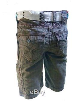 Rock Revival Belted Toffee Plaid Colored Men's Shorts